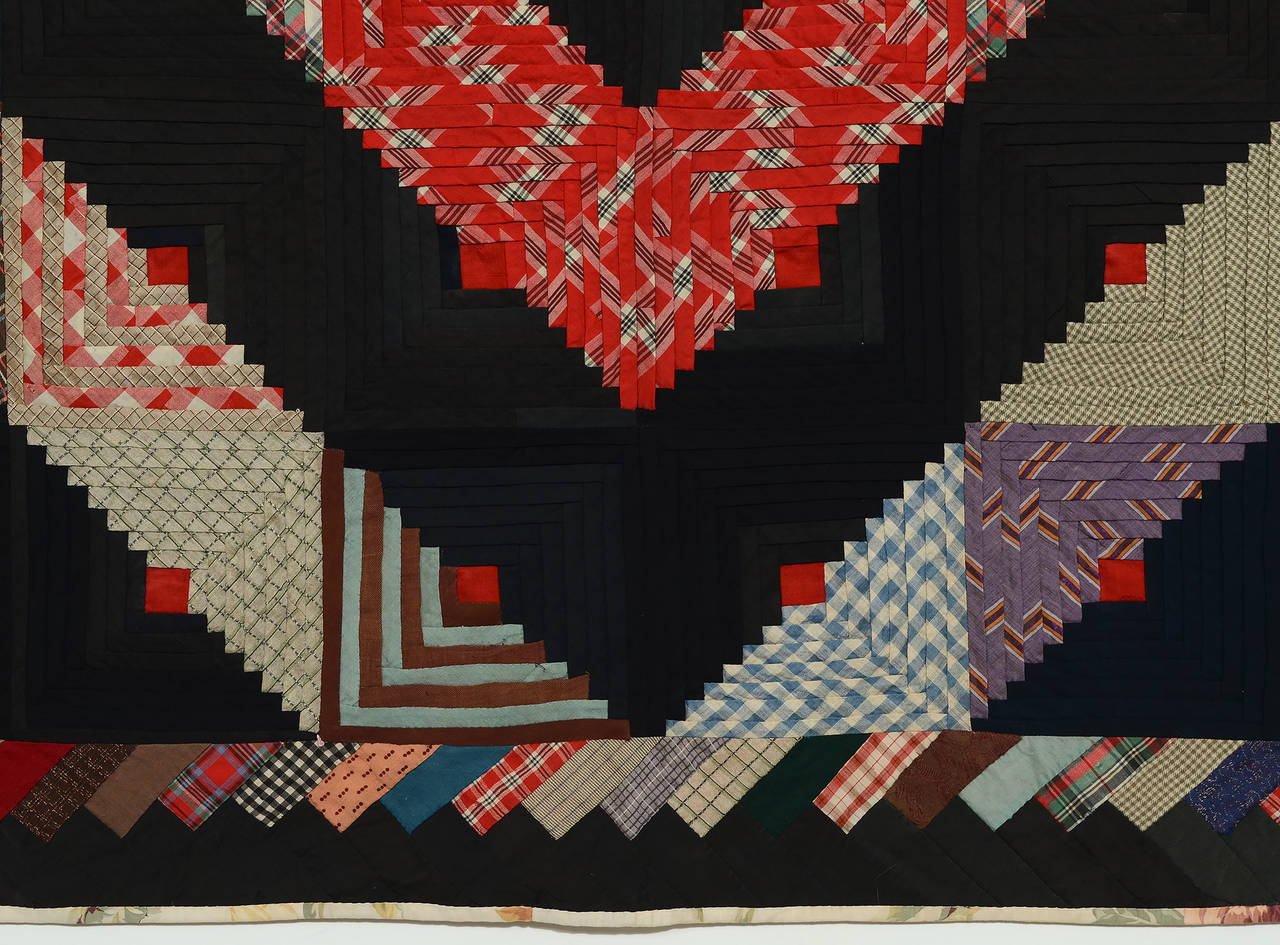Barn Raising Log Cabin Quilt With Unusual Border For Sale