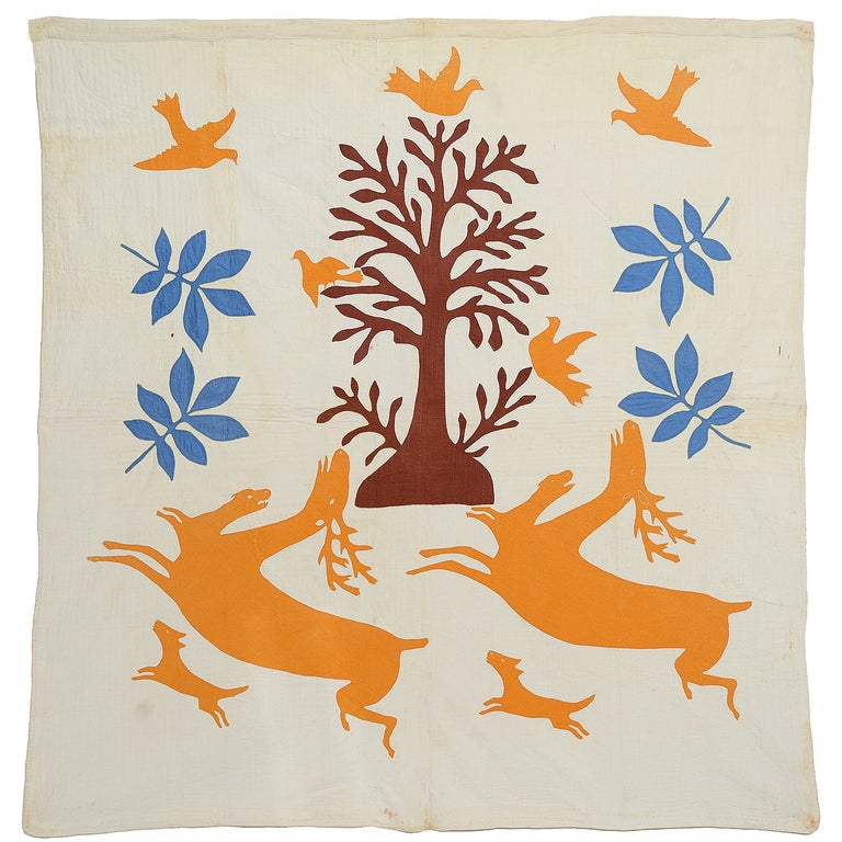 Stag and Hounds Folk Art Quilt For Sale