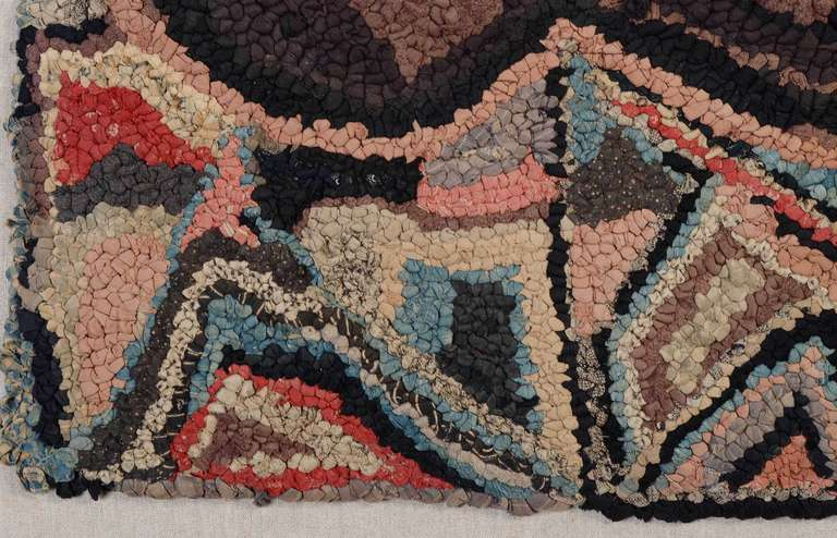American Recumbent Dog Hooked Rug For Sale