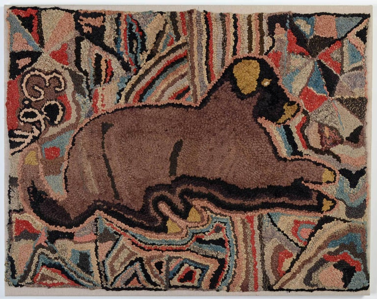 Recumbent Dog Hooked Rug For Sale