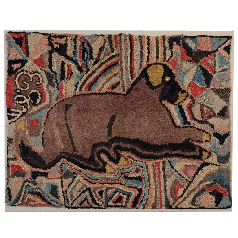 Dog Hooked Rugs: Recumbent Dog Hooked Rug For Sale At 1stdibs