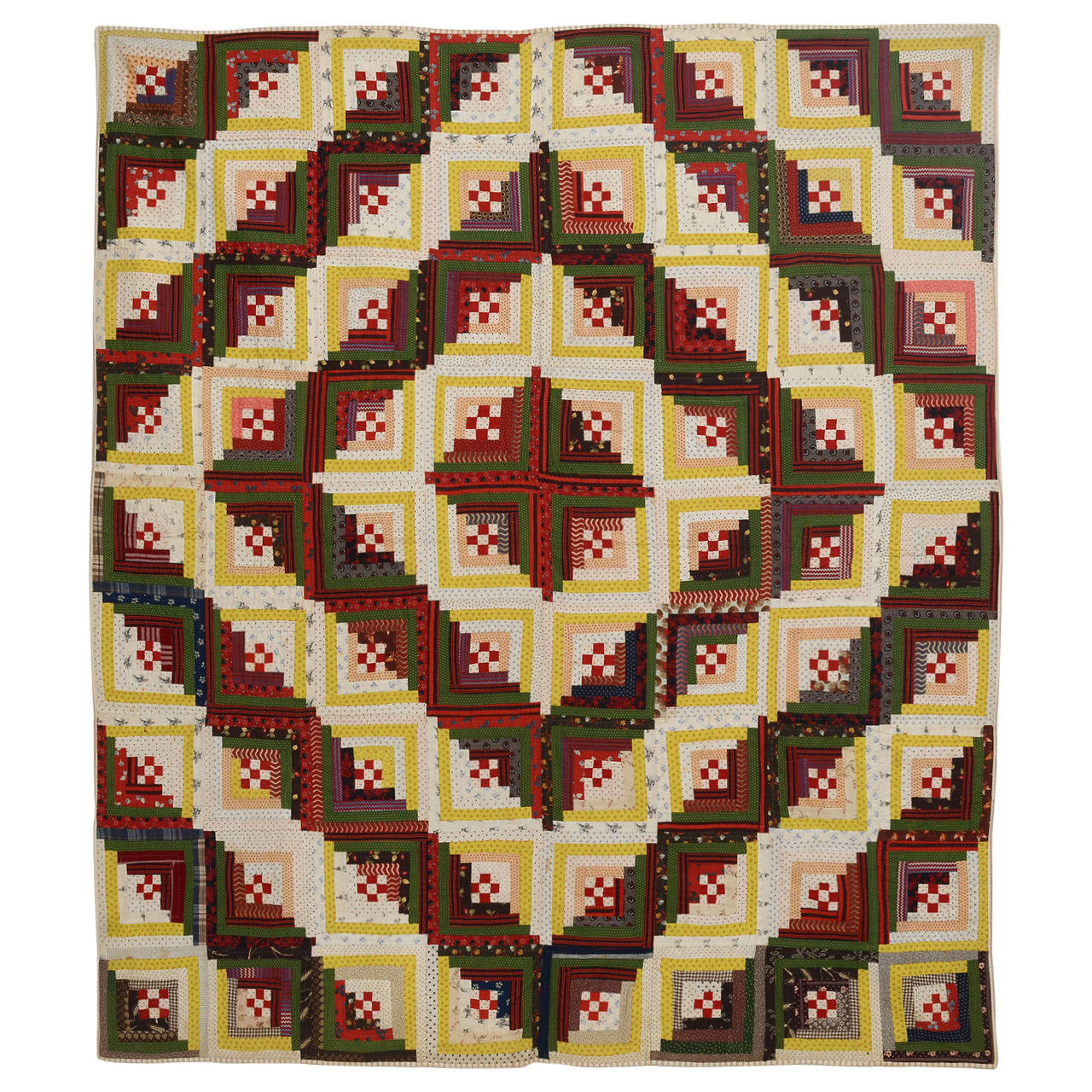 Marvelous photograph of Barnraising Log Cabin Quilt with Nine Patch Centers at 1stdibs with #A0872B color and 1280x1280 pixels