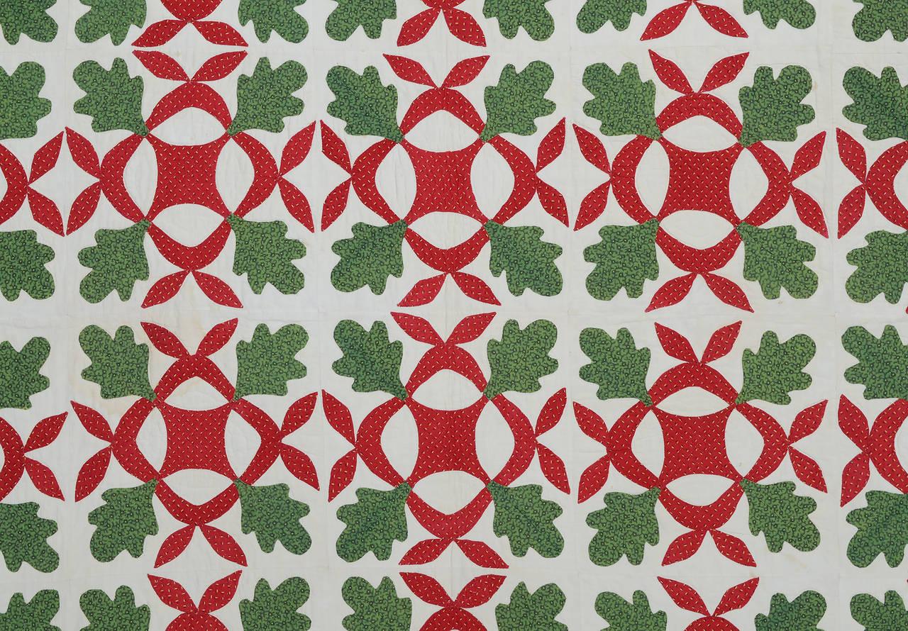 Oak leaf applique quilt with hearts border at stdibs