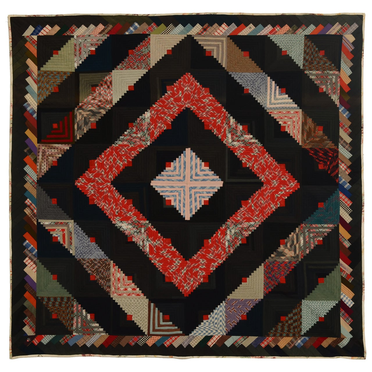 Barn Raising Log Cabin Quilt with Unusual Border