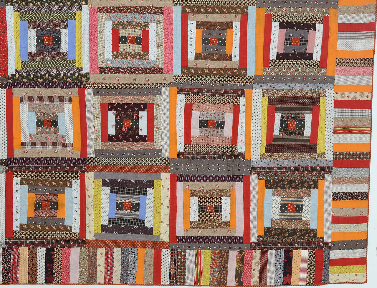 American Courthouse Steps Log Cabin Quilt For Sale