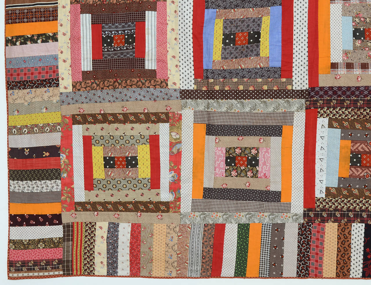 Patchwork Courthouse Steps Log Cabin Quilt For Sale