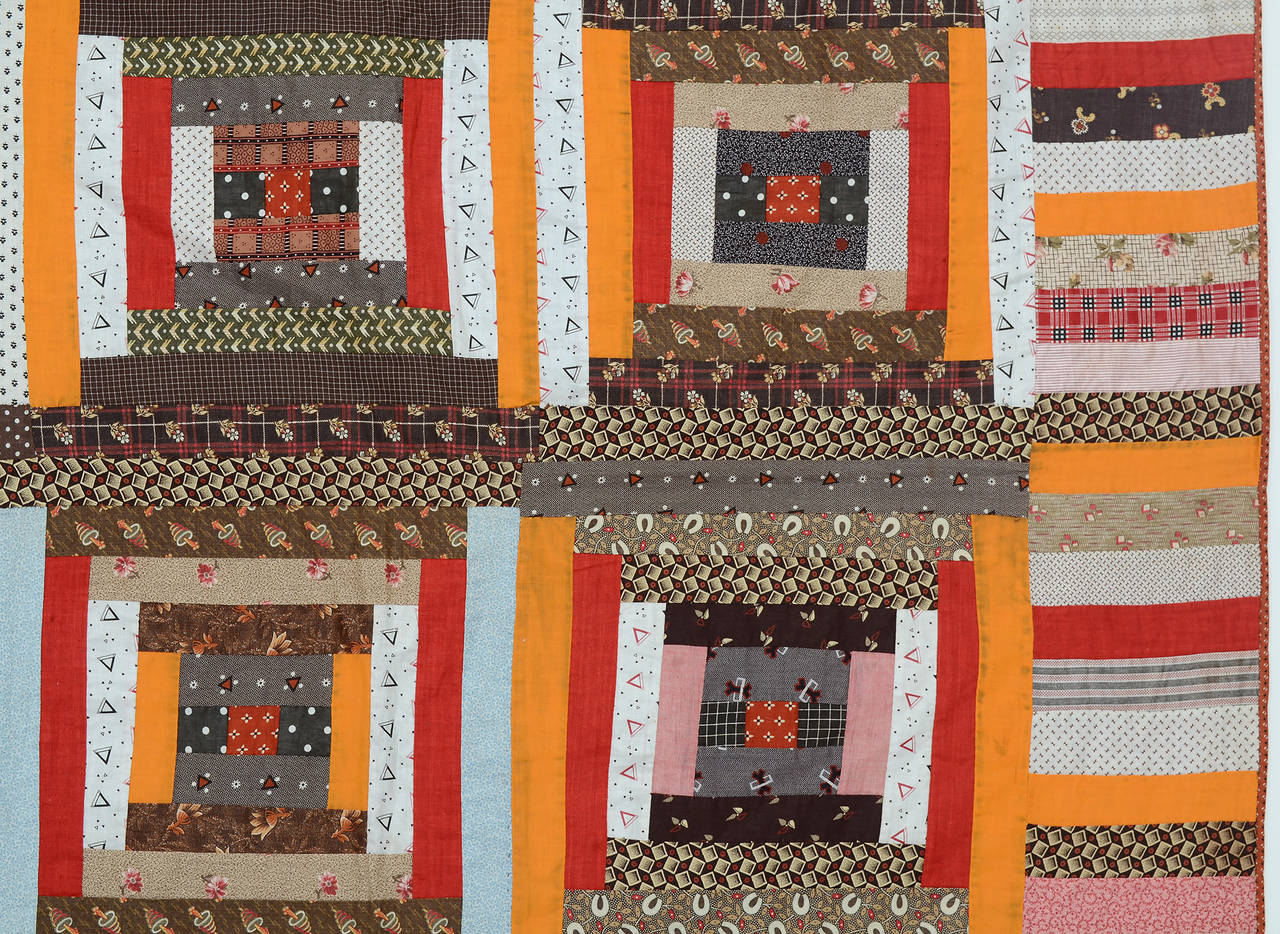Courthouse Steps Log Cabin Quilt In Excellent Condition For Sale In Darnestown, MD