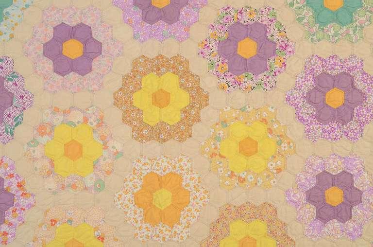 Grandmother 39 S Flower Garden Quilt At 1stdibs