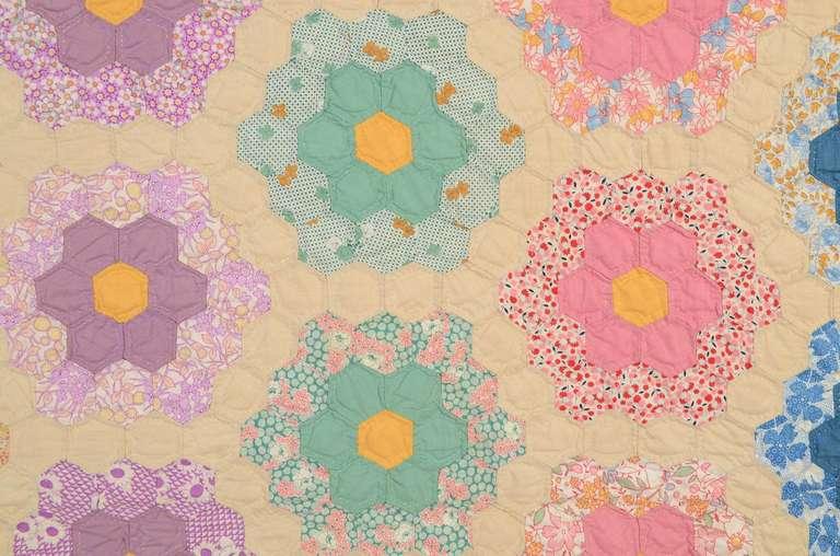 Grandmother 39 s flower garden quilt at 1stdibs for Grandmother flower garden quilt pattern variations