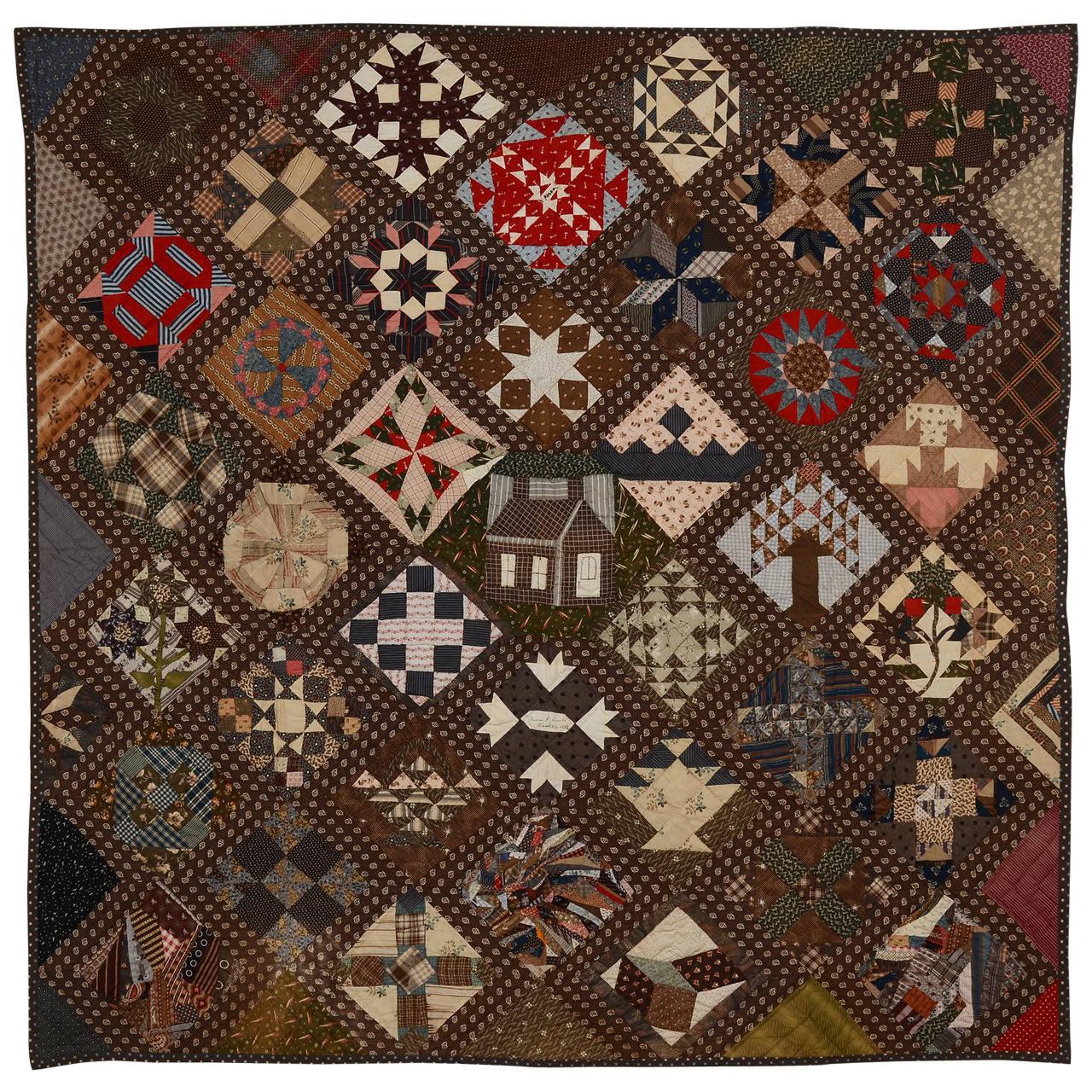 New England Sampler Quilt Dated 1891