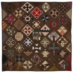 New England Sampler Quilt Dated 1891