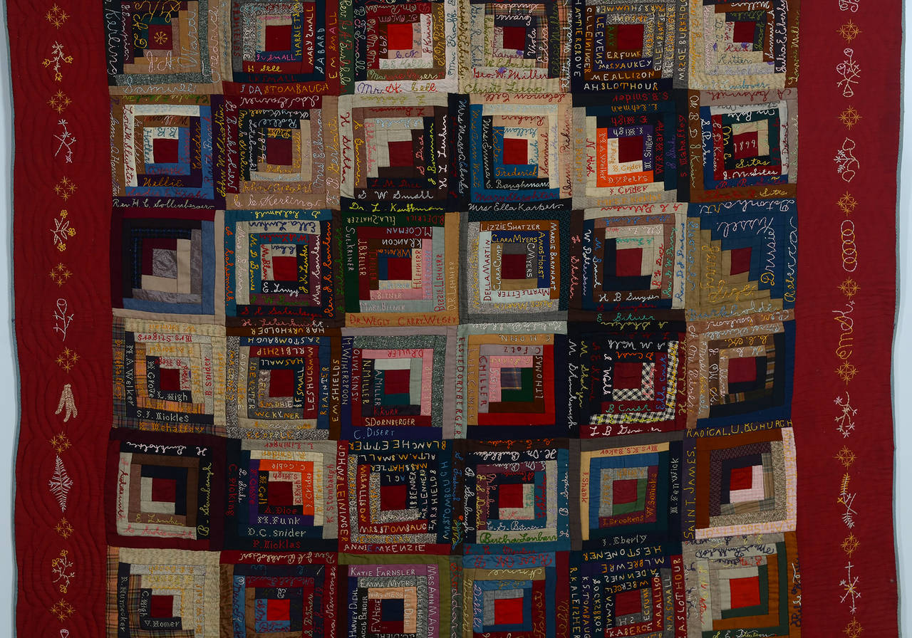 Amazing photo of Barn Raising Log Cabin Quilt with Embroidery For Sale at 1stdibs with #B43D17 color and 1280x896 pixels