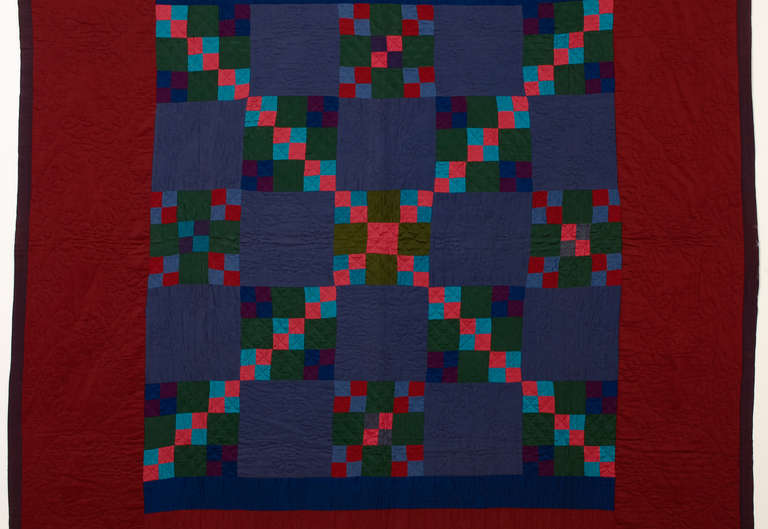 American Lancaster County Amish Four Patch in Nine Patch Quilt For Sale