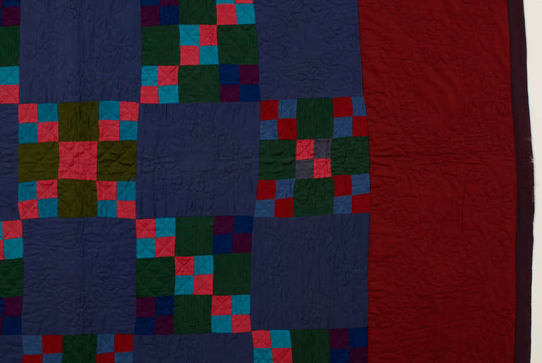 Mid-20th Century Lancaster County Amish Four Patch in Nine Patch Quilt For Sale
