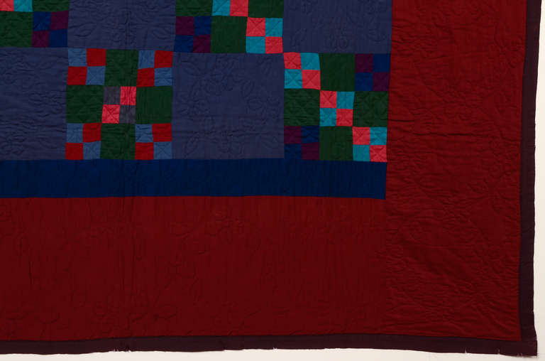 Cotton Lancaster County Amish Four Patch in Nine Patch Quilt For Sale