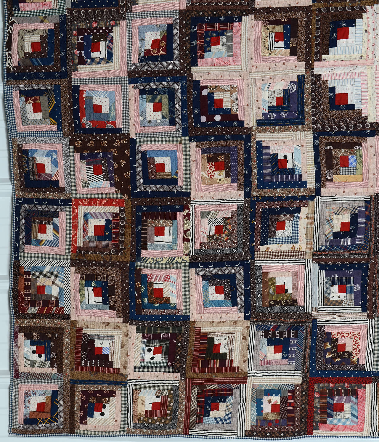 Patchwork Streak of Lightning Quilt with Star Center For Sale