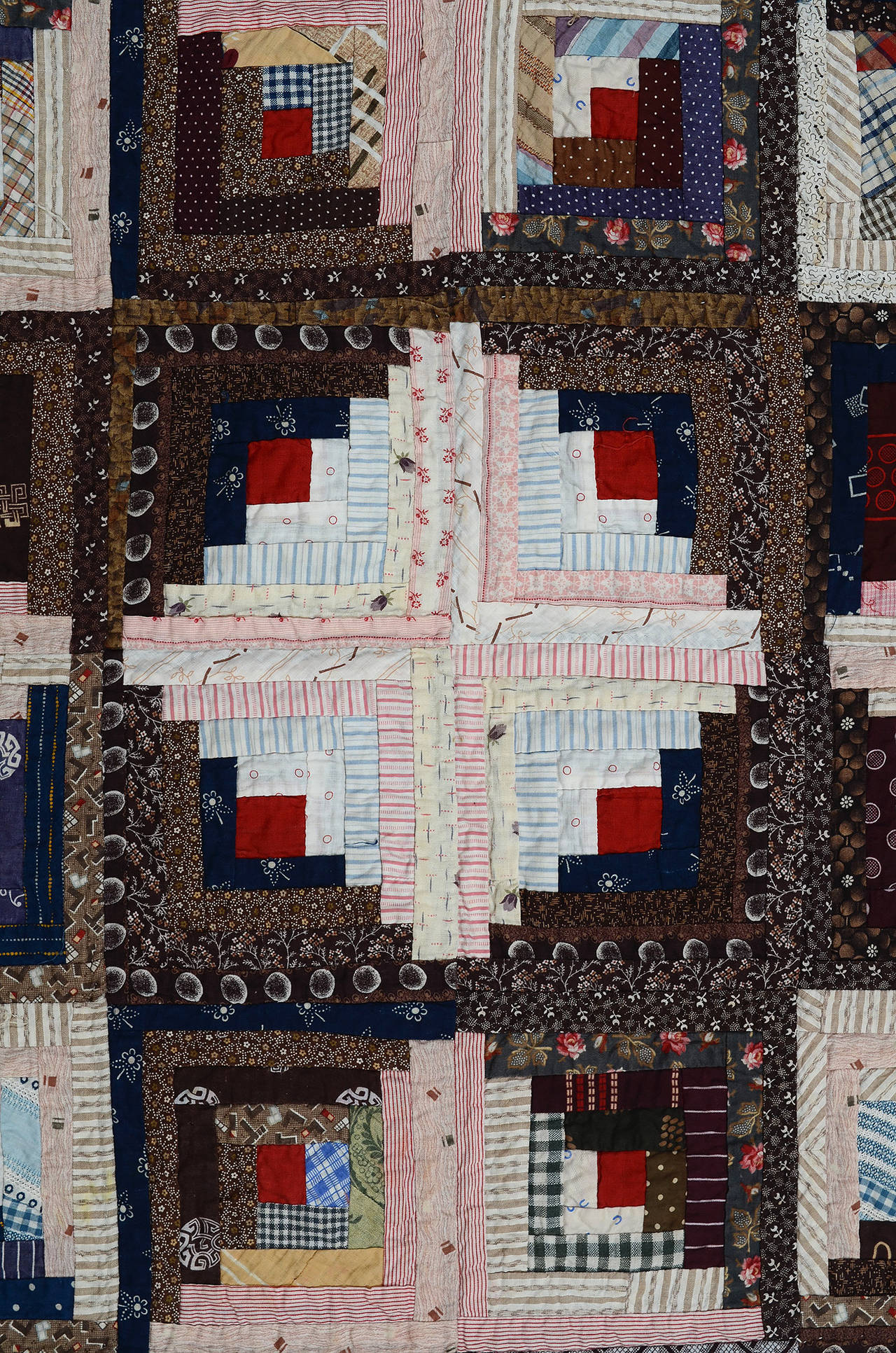Late 19th Century Streak of Lightning Quilt with Star Center For Sale