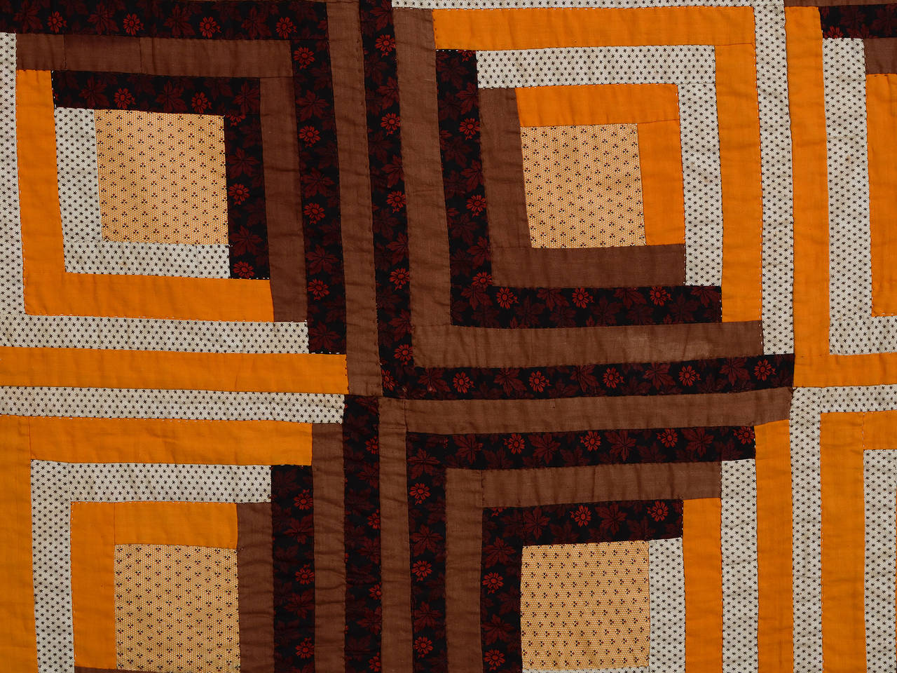 Late 19th Century Barn Raising Log Cabin Quilt For Sale