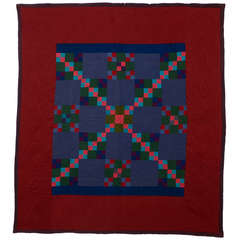 Lancaster County Amish Four Patch in Nine Patch Quilt