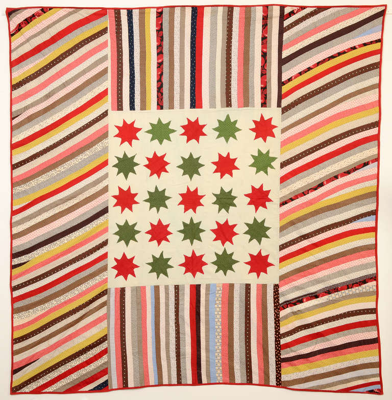 The colors may not be traditionally patriotic, but the Stars and Stripes theme certainly is. This summer quilt (top and back with no batting) was made in Lancaster County, Pennsylvania at the time of the Centennial. It measures 76