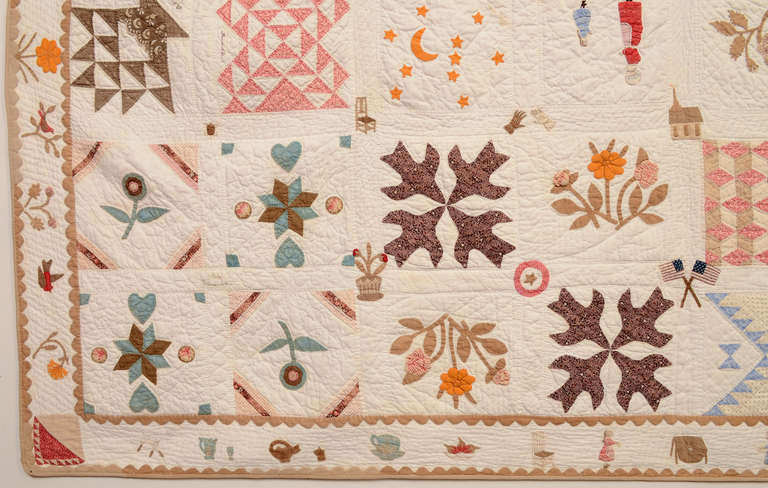 Temperance Sampler Quilt With Figures And Animals And