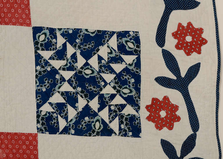 Wild Goose Chase Quilt With Applique Border At 1stdibs