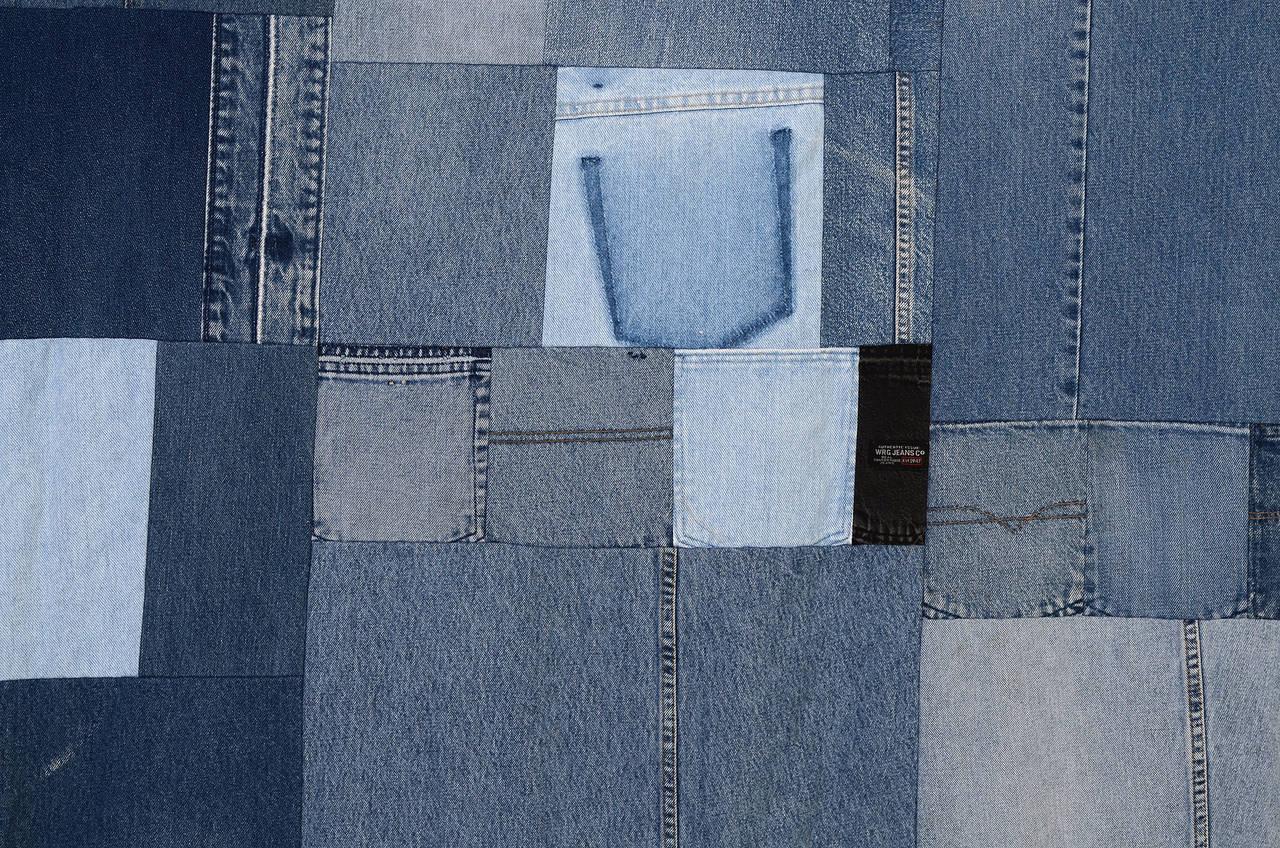 Patchwork Denim Indigo Quilt For Sale