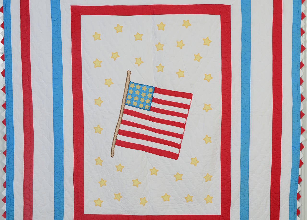 Patriotic quilts were often made at the time a state was admitted to the Union. It seems highly probable that this 49 star quilt was made to commemorate the admission of Hawaii in January, 1959. The flag itself has 16 stars and the surrounding field