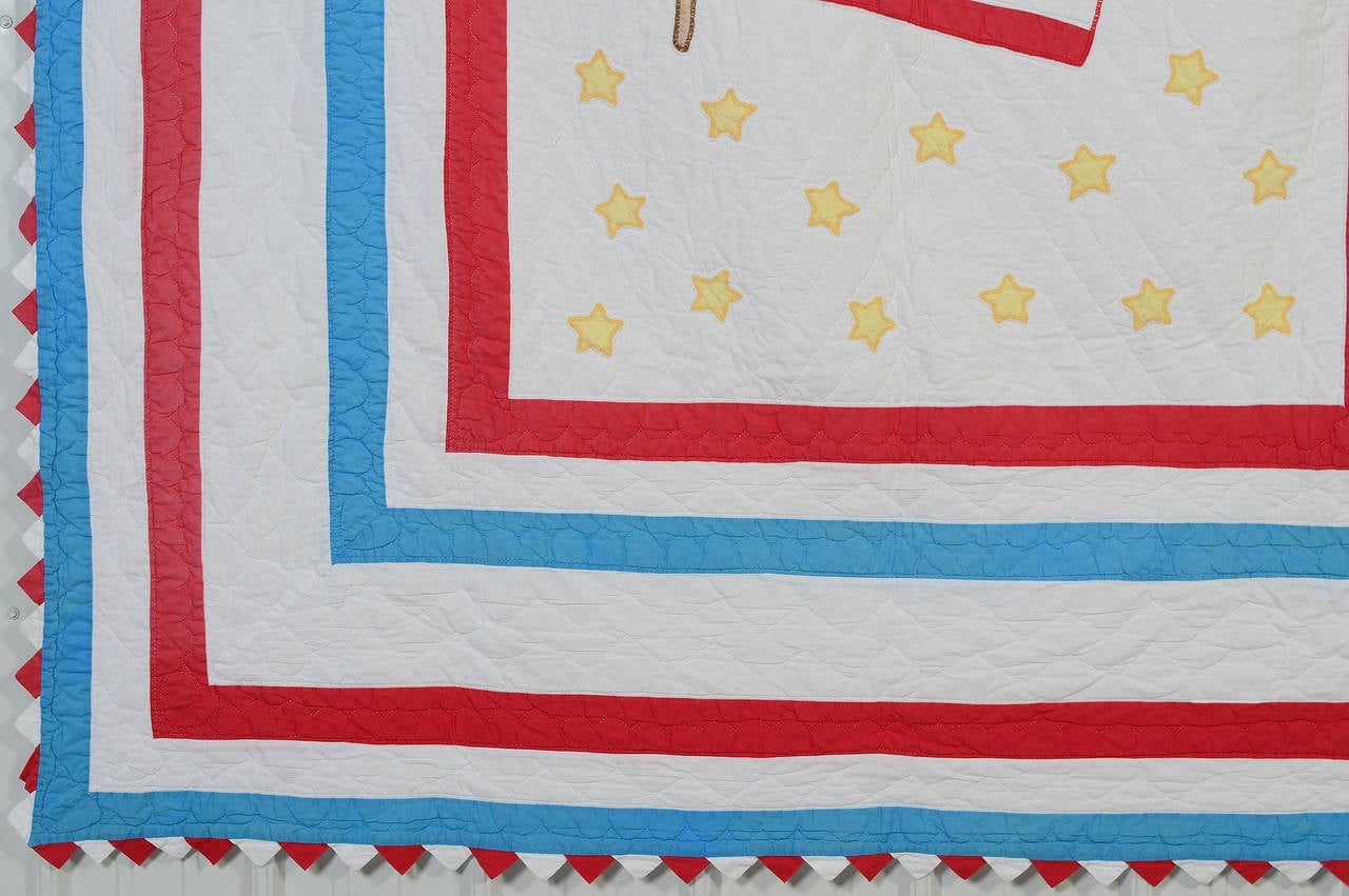 Appliqué American Flag Quilt For Sale