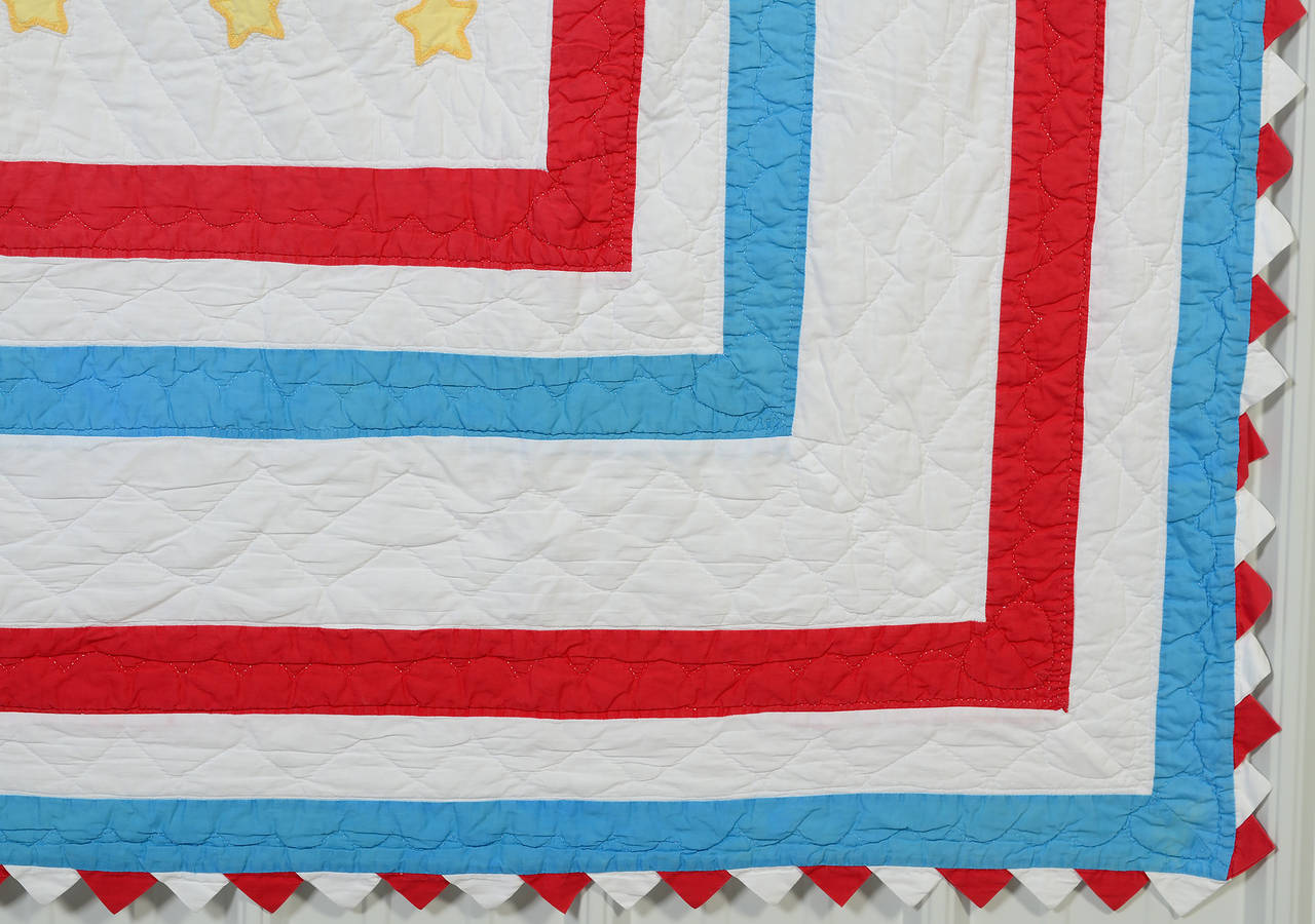 Mid-20th Century American Flag Quilt For Sale