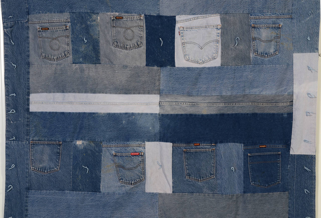 Patchwork Denim Quilt with Jeans Pockets For Sale