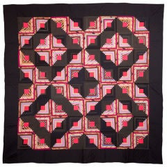 Light and Dark Log Cabin Quilt