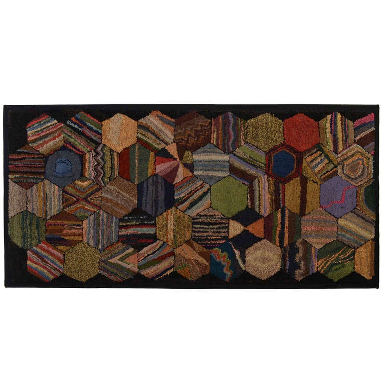 Hexagons Hooked Rug For Sale