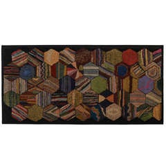 Hexagons Hooked Rug