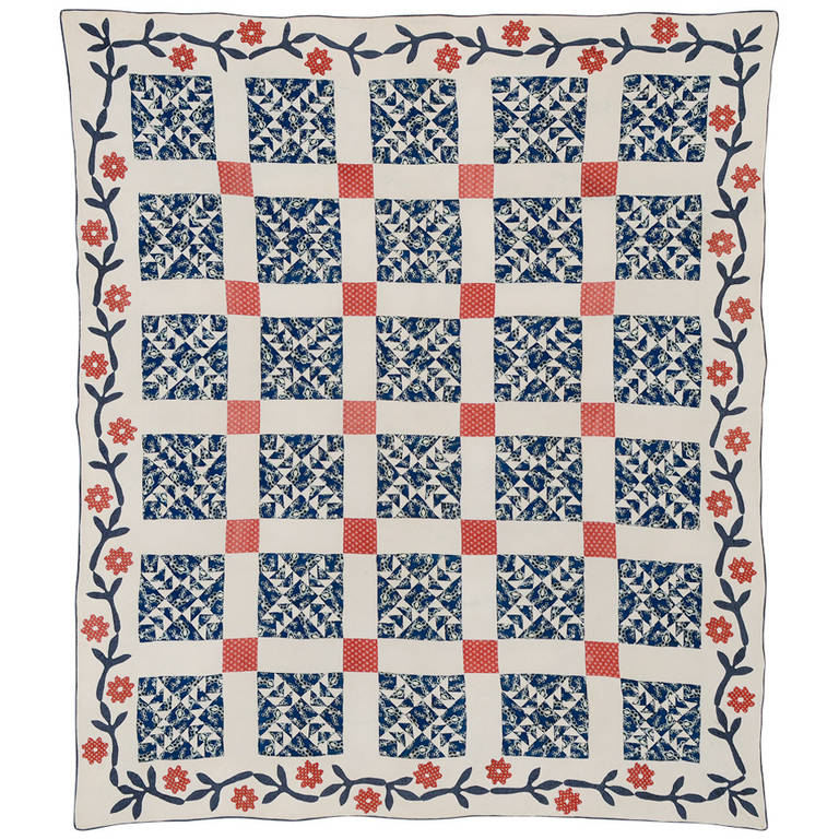 Wild Goose Chase Quilt with Applique Border