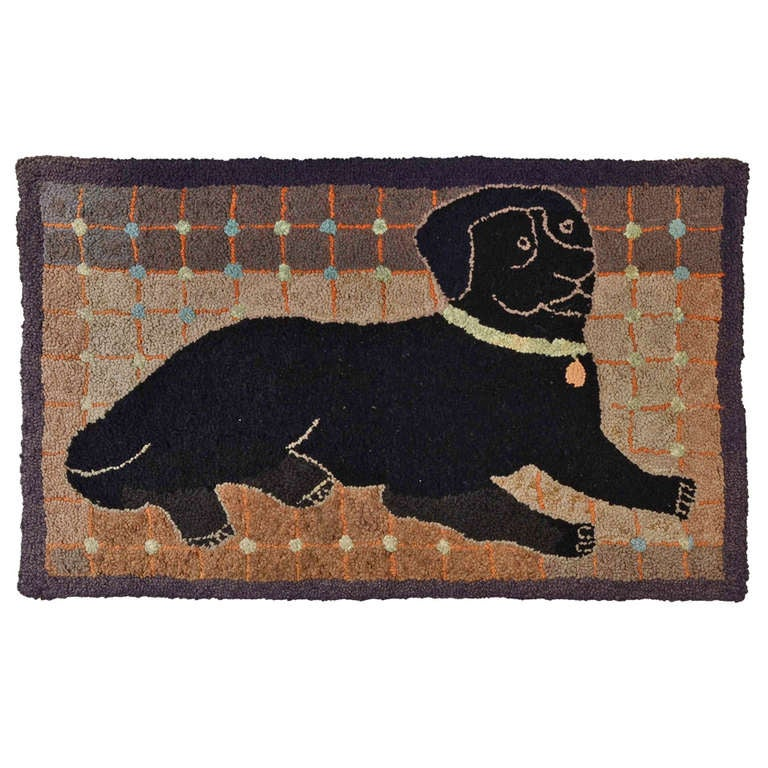 Folky Dog Hooked Rug At 1stdibs