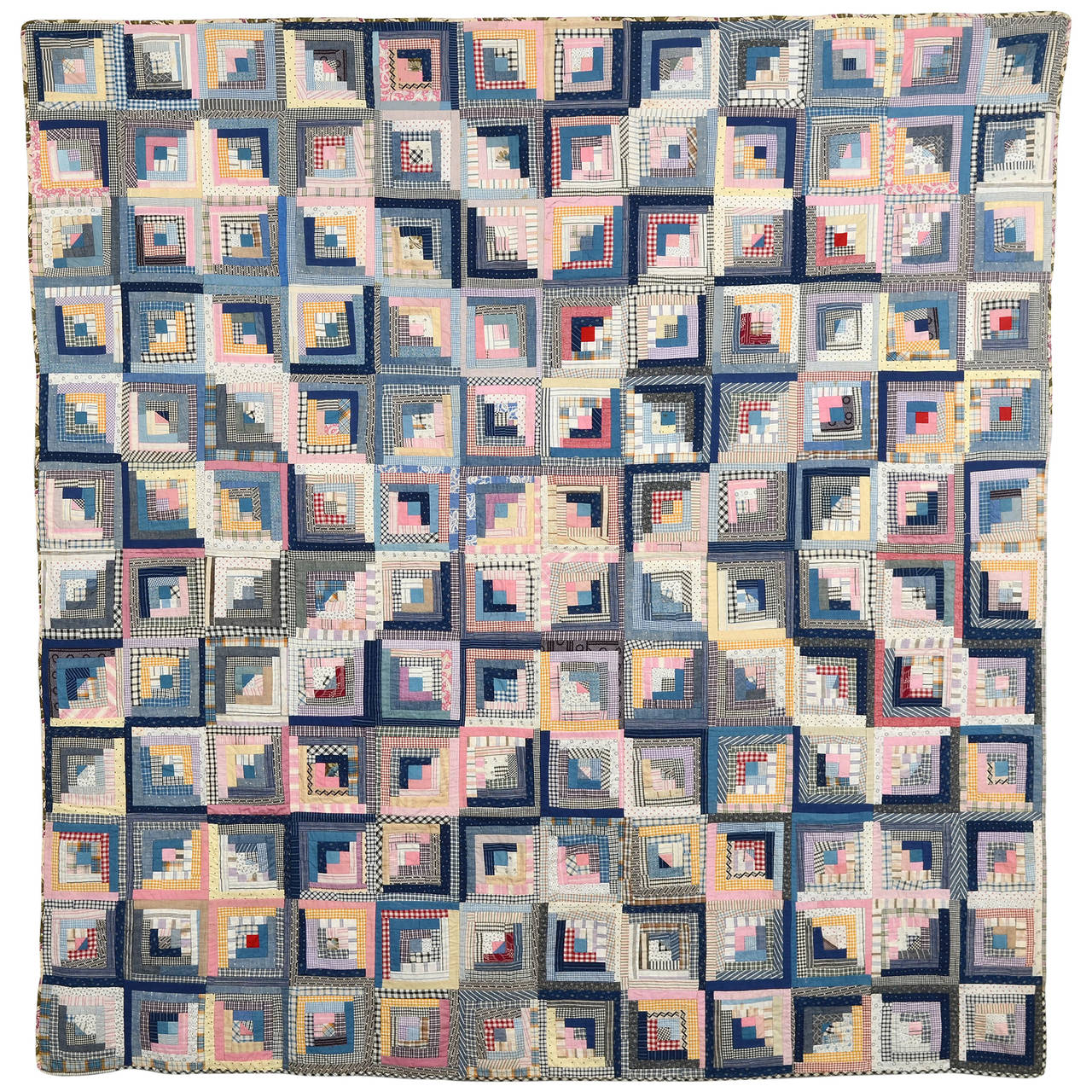 Log Cabin and Stars Quilt