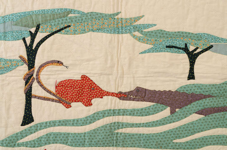 Quot How The Elephant Got His Trunk Quot Quilt At 1stdibs