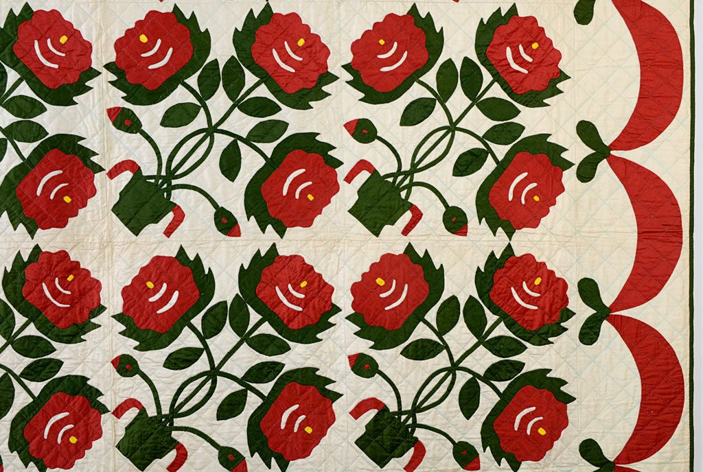 American Pots of Flowers Quilt For Sale