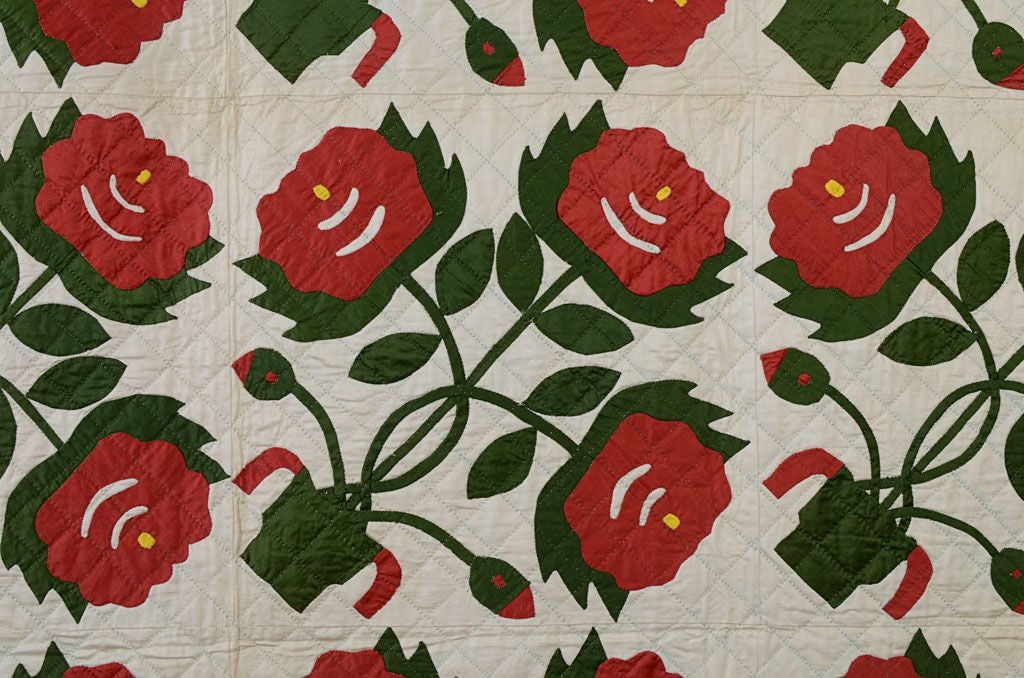 20th Century Pots of Flowers Quilt For Sale