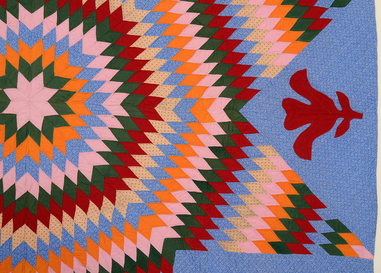 Lone Star Quilt With Applique At 1stdibs