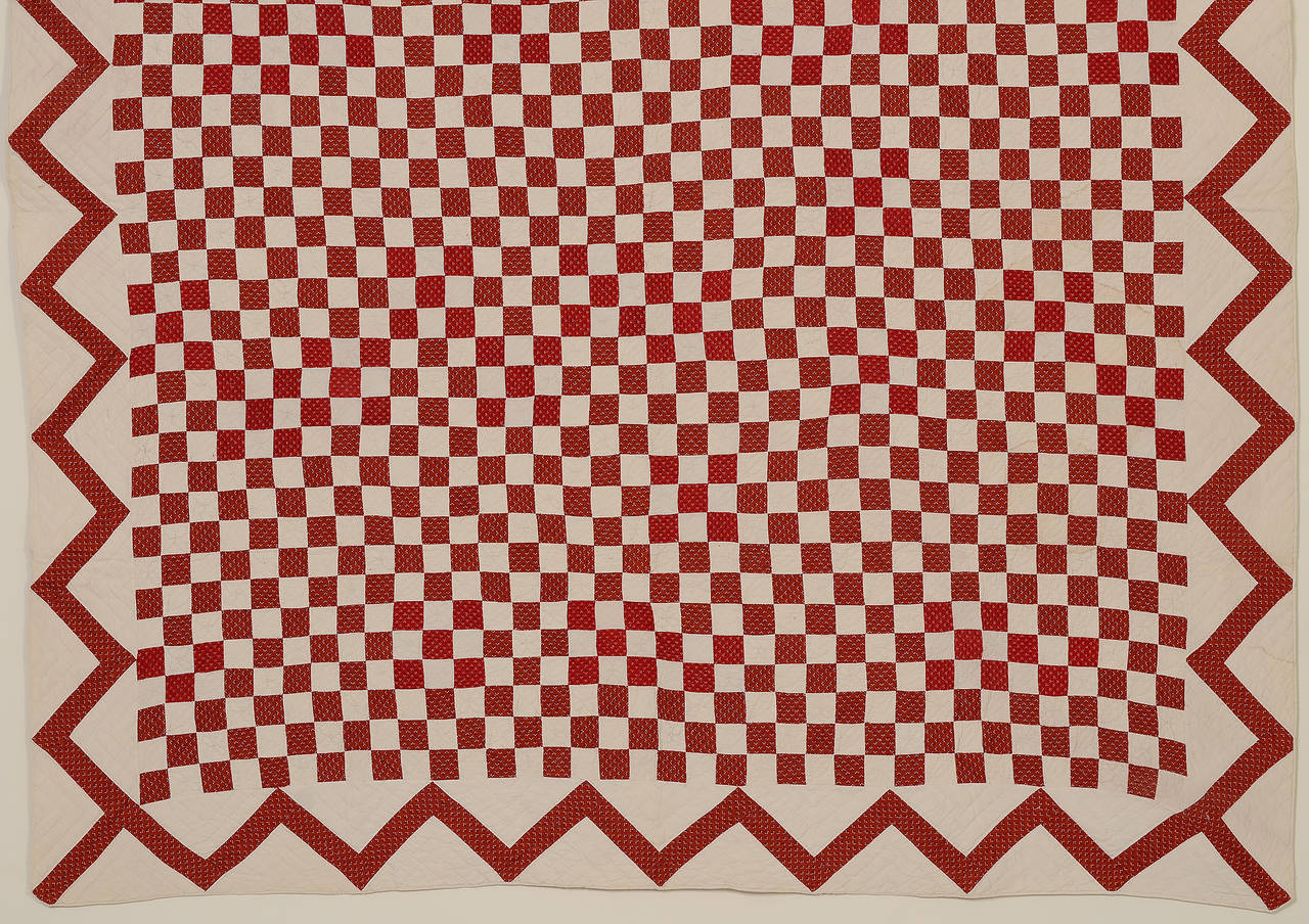 American Checkerboard Quilt with Zigzag Border For Sale