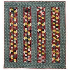 Tumbling Blocks in Bars Quilt