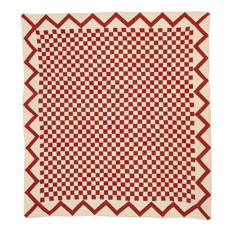 Checkerboard Quilt with Zigzag Border For Sale
