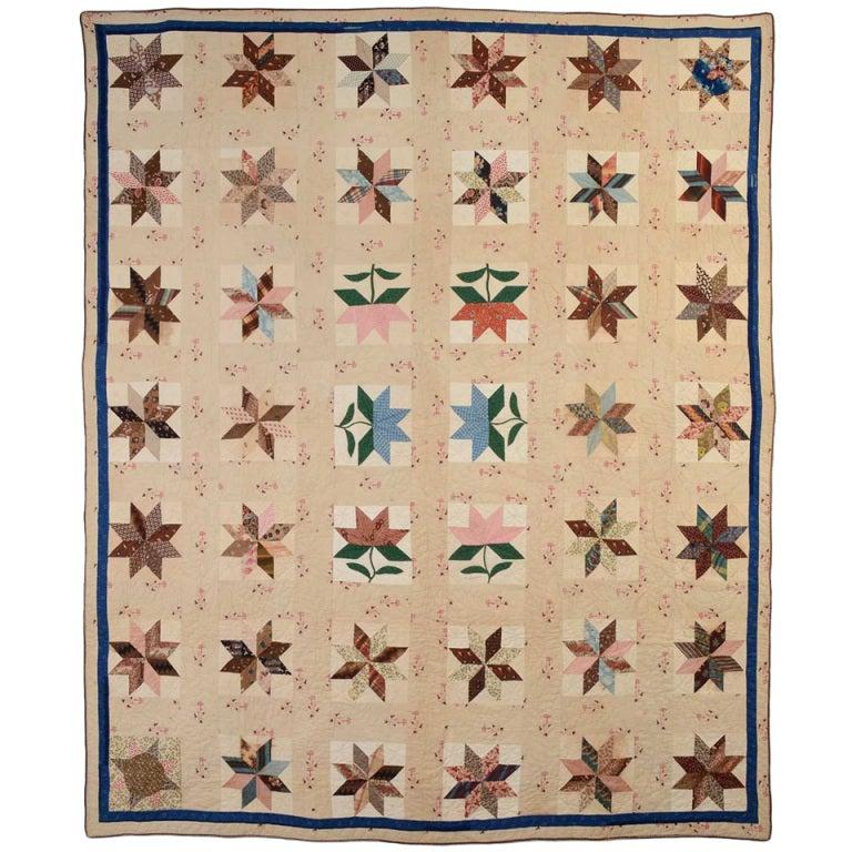 LeMoyne Stars and Maple Leaves Quilt