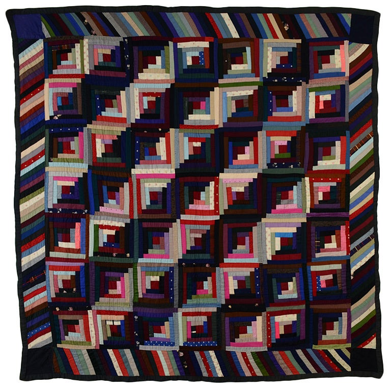 Mennonite Streak of Lightning Log Cabin Quilt