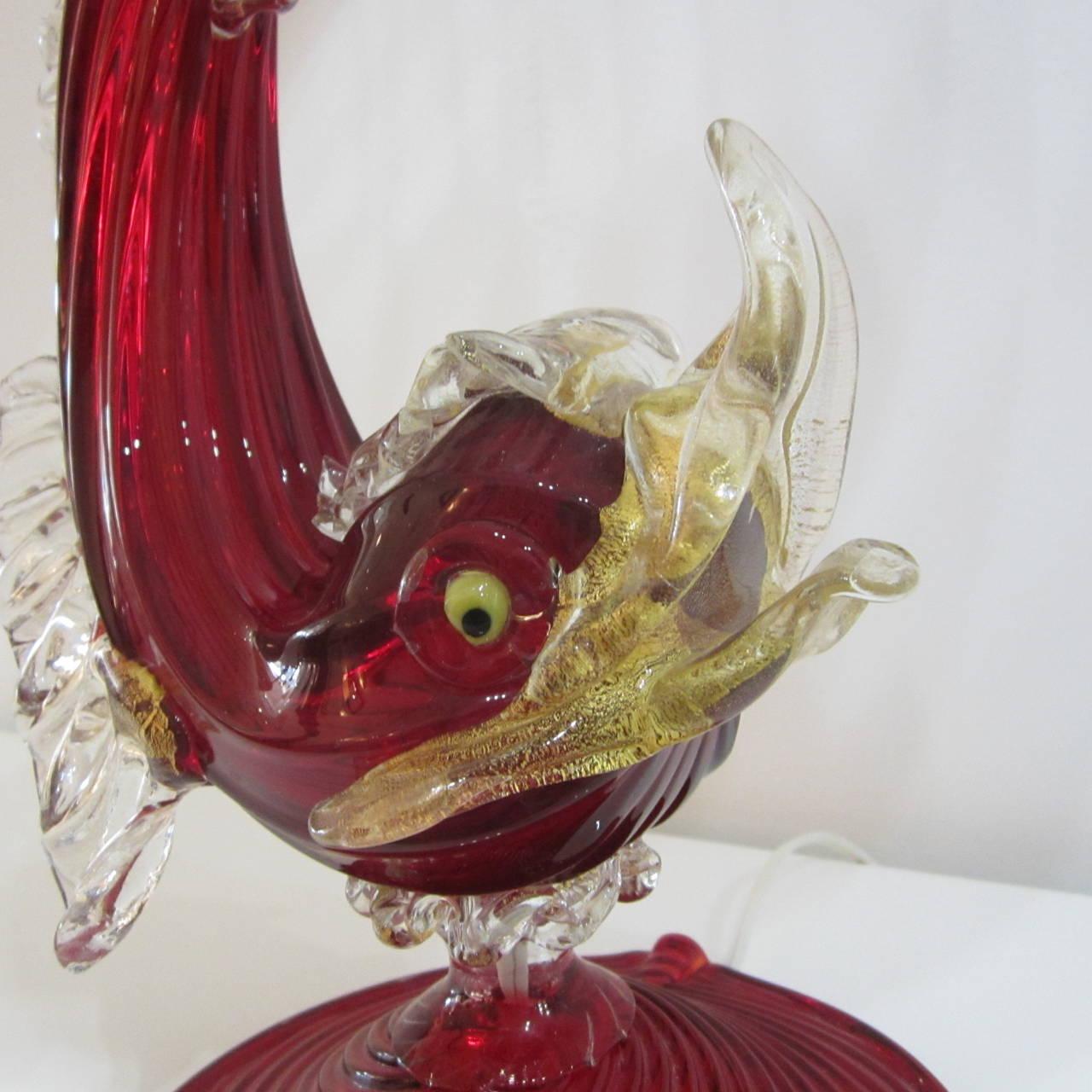 Handblown murano glass fish lamp at 1stdibs for Murano glass fish
