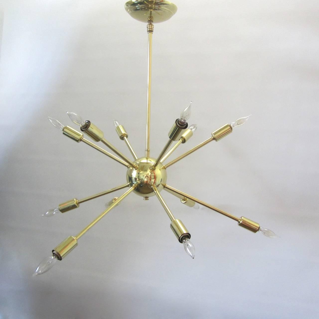 Sputnik chandelier in polished brass at 1stdibs for Sputnik chandelier