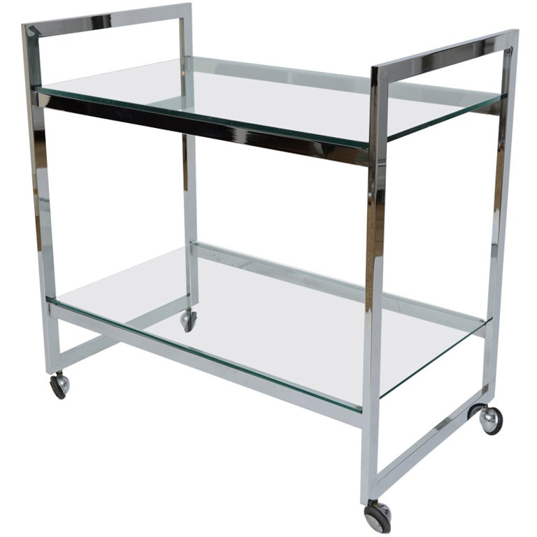 Chrome Two Tier Bar Cart At 1stdibs