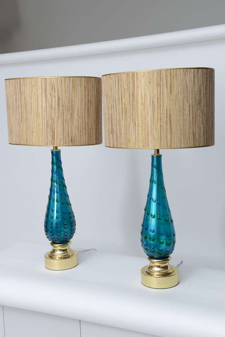 Blown glass table lamps - Pair Of Hand Blown Mid Century Murano Glass Lamps 2